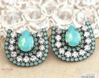 Mint Opal Crystal Statement Earrings, Mint Swarovski Estate earrings, Mint opal Rhinestone big earrings, Bridal jewelry, Halo earrings .