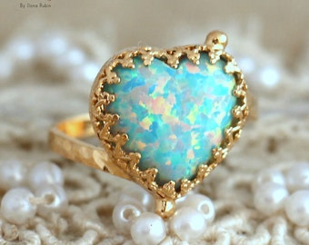Opal Ring, Mint Opal gold Ring, Dainty Heart Opal Ring, Opal Jewelry,Gold Opal Ring, Mint Ring, Gift for woman, Opal dainty Heart Ring.
