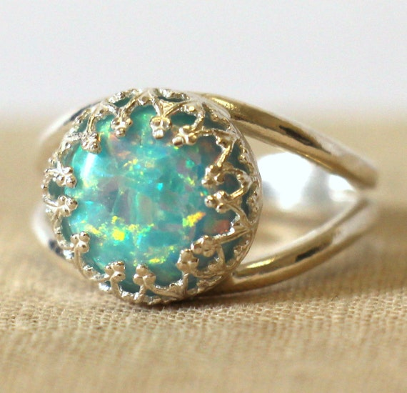 opal silver ring mint green opal ring silver opal ring by