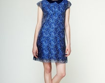 60s style dress, blue mini dress, mod style dress, 60s inspired dress, A silhouette dress, blue silk dress, MIRTL DRESS  by Mrs Pomeranz