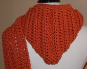 Orange Crochet Hooded Scarf