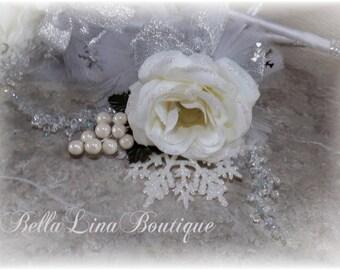 SALE Winter Wedding - Wedding Wand- Winter White Wedding Wand - Flowergirl Wand - ready to ship - One Wedding Wand - Three Available