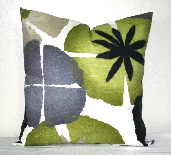 Robert Allen Lime Green and Gray Decorative Pillow Cover 18