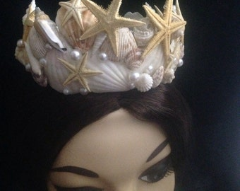 Sea Shell Mermaid Crown Headpiece made with Natural Seashells and Pearls, Beach Wedding, Mermaid Headpiece, Cosplay Headpiece