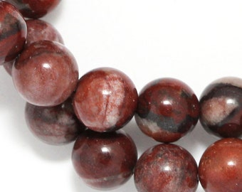 Red Picture Jasper Beads - 10mm Round
