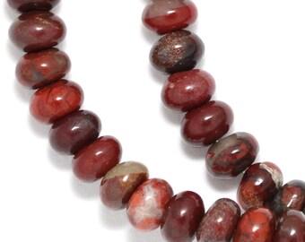 Rainbow Brecciated Jasper Beads - 6mm Rondelle