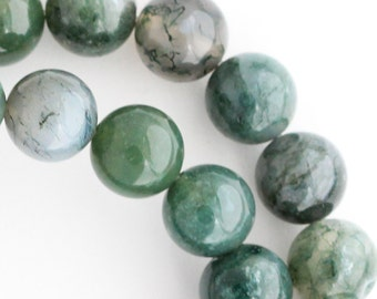 Green Moss Agate Beads - 10mm Round - Full Strand