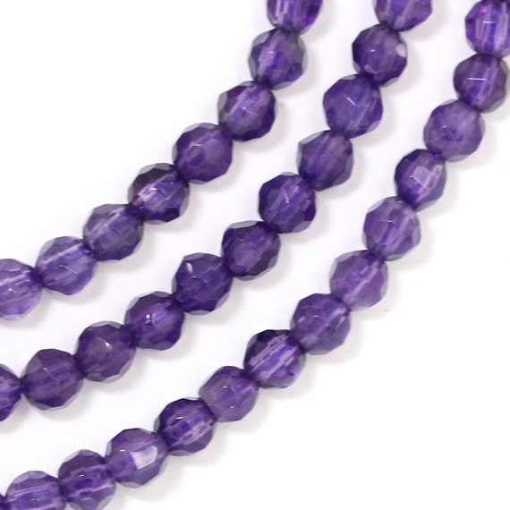 Amethyst Beads - 4mm Faceted Round - Full Strand