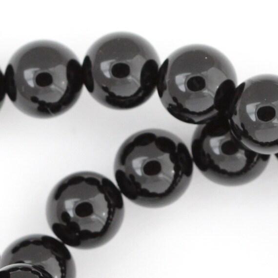 Black Onyx Beads - 10mm Smooth Round - Full Strand