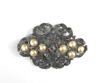 Vintage Brooch Pin Cast Metal Faux Pearls Colored Stones Retro Fashion