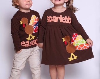 Thanksgiving Dress Shirt Set - Brother Sister Sibling Set -  Thanksgiving Applique Outfits