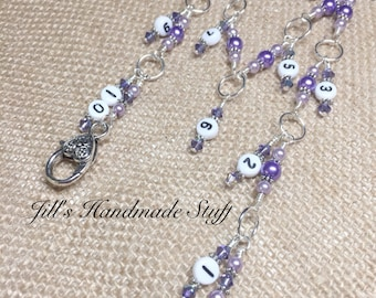 Knitting Row Counter 1-10 Stitch Marker- Beaded Numbered Chain Style Row Counter- Gift for Knitters- Knitting Tools