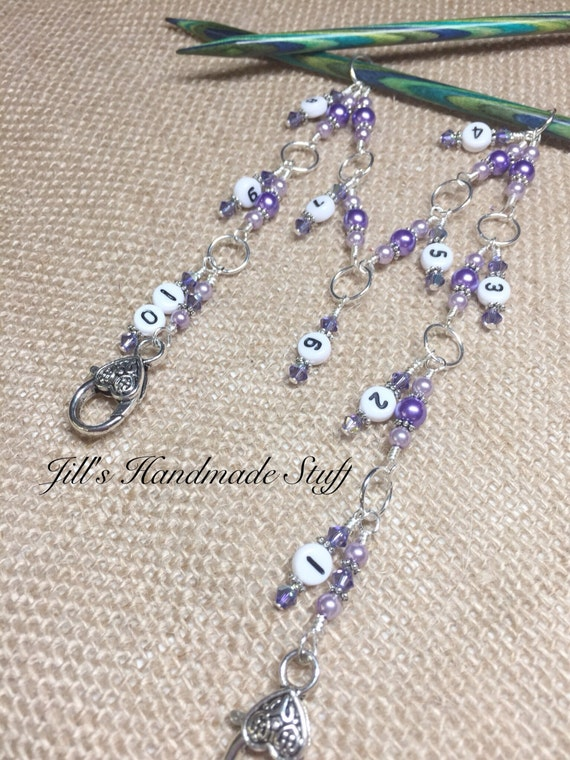 Knitting Row Counter 1-10 Stitch Marker Beaded Numbered Chain
