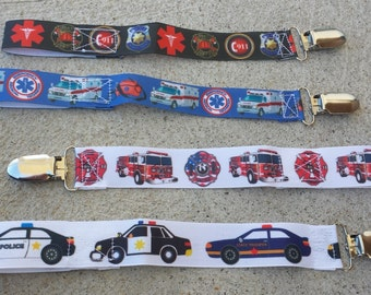 Emergency services pacifier clips