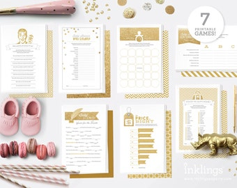 Printable Baby Shower Game Bundle // 7 Games in Gold Glitter