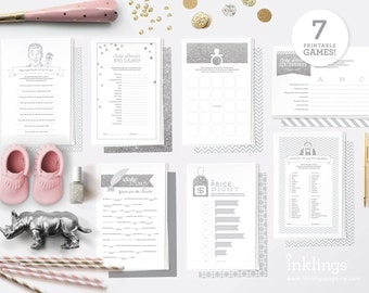Printable Baby Shower Game Bundle // 7 Games in Silver Glitter