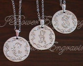 Ornate Hand Engraved Bridesmaid Necklace - Set of 3  -  Round Sterling Silver Pendant with chain