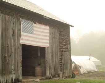 Barn - Foggy Morning - Photo Notecard - free shipping