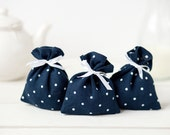 Gift bags - Linen favor bags - Blue Polka dot wedding favor gift bags - Blue linen shower favor bags