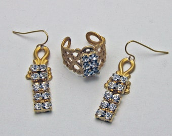 Matching Rhinestone Ring and Earrings