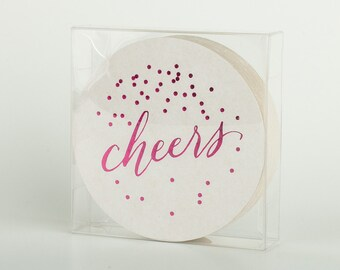 Cheers Coasters Pink Foil - Set of 25