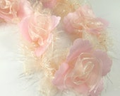 Blush Pink and Ivory Ruffled Rose Vintage Inspired Bridal or Decorator Trim - By the Flower or by the Yard