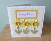 Daffodil Happy Easter applique and quilled  card