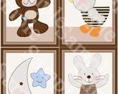 Set of 4  Unframed (B is for Bear/Duck/Bunny/Teddy Bear/Moon/Star) 8x10 inch Linen Look Nursery Wall Art Prints Baby Children Kids Decor