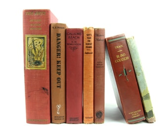 Vintage Book Collection in Red, Orange, Rust / Vintage Home Decor / Ghost Train / Gallions Reach / Mistress Madcap / Blind Goddess /The Arts