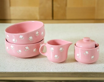 Vintage WAECHTERSBACH West Germany Pottery Pink with Flowers / Creamer, Sugar, Two Bowls / Breakfast for Two Set / W Germany