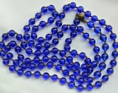 Vintage Cobalt Blue Glass Bead Necklace