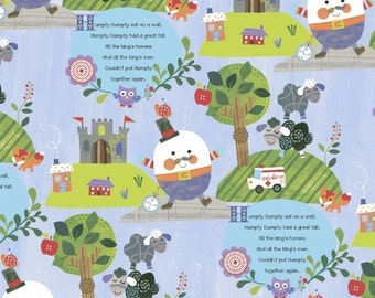 Humpty Dumpty, Cotton Modern Designer Fabric, Mother Goose Tales, Nursery Fabric, Jill McDonald, One Yard