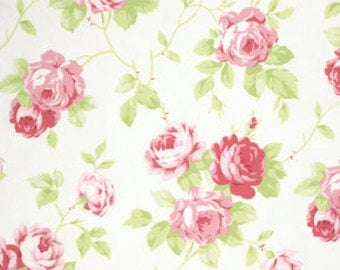 Tanya Whelan Fabric Lulu Roses Lulu in White PWTW092 White One Yard