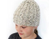 Cable Hand Knit  Hat - Beanie Cream Beige