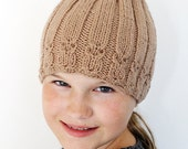 Brown Beige Cable Hand Knit  Hat - Owl Beanie