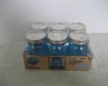 12 Blue Ball Mason jars Limited Edition Ball Jars  Wedding Christmas Holiday Decor crafts Primitive decor