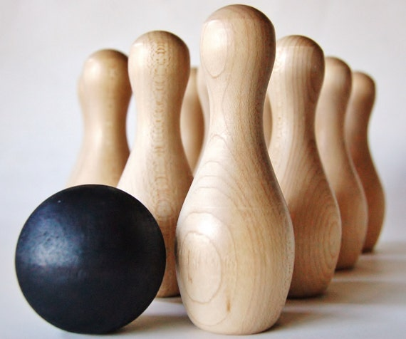 Natural Wood Toy *Toddler Gift *TEN PIN BOWLING Game* Kids Gifts * Toddler Toys * Stocking Stuffer