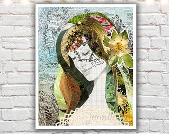 mother earth - nature art - mixed media collage art - earthy wall art - portrait print