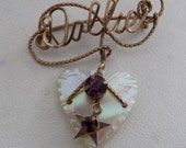 """Vintage brooch, gold wire wrap """"Dollie"""" brooch with amethyst crystals and mother-of-pearl heart dangle, retro jewelry"""