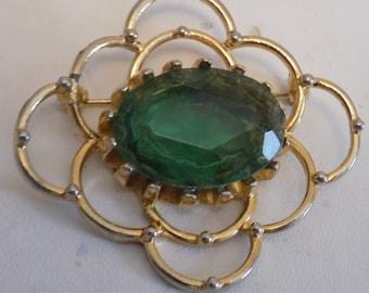Vintage  brooch, retro 1950s emerald green glass brooch, madman brooch, vintage jewelry