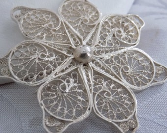 "Antique brooch, sterling silver filigree flower brooch, marked ""S 92"" tube hinge C catch brooch, antique jewelry"