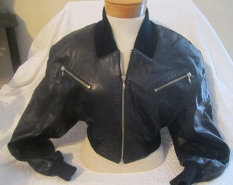 Just reduced....Soft buttery black leather cropped jacket Michael Hoban 80's North Beach Leather X small