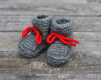 "Baby Boy Girl charcoal grey red ties warm mohair wool lace up stay on Booties / Socks for Fall Winter, baby shower 6-9 months, 4"" (10 cm)"