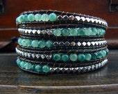 Green Beaded Wrap 5 Wrap Jade Leather Wrap Bracelet Silver Beads Wrap Bracelet Silver Beaded Bracelet 10910