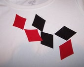 Diamonds Iron on Applique, Set of 6 Diamond Patches- Choose black Diamonds and red, All red or all black