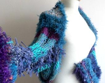Blue Green Purple  Shrug, Free Form Knitting, New Season, Christmas gift   Winter Fashion,  Ready To Ship, Gift for Her