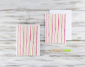 Blank Everyday Cards Set of 8 - Hand-Illustrated Pink and Green Watercolor Stripes