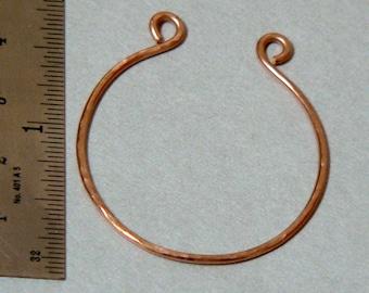 14 kt Rose Gold Filled Charm Holder, Round Connector, Hand Forged, 16 gauge