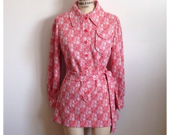 Vintage 60s/70s long sleeve 2 tone pink blouse