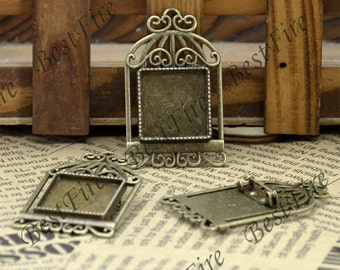 2 pcs Antique Brass filigree Luster birdcage square (base 20mm ) birdcage Brooches , square flower Brooch
